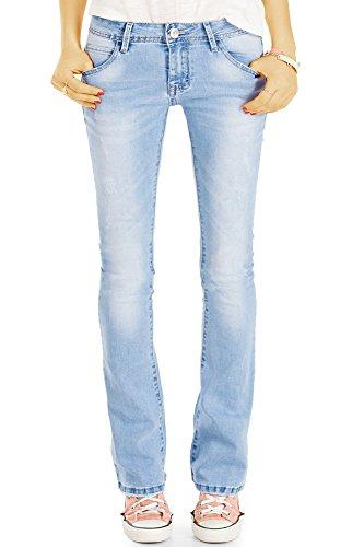 bestyledberlin Damen Schlagjeans, Boot-Cut Jeans Skinny FIt, Stretch Hüftjeans ausgestellt j76f 38/M