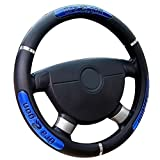 qiguch66 Leather Steering Wheel Cover,38cm Fashion Dragon Design Faux Leather Car Steering Wheel Cover Interior Decor,Universal Steering Wheel Covers Blue