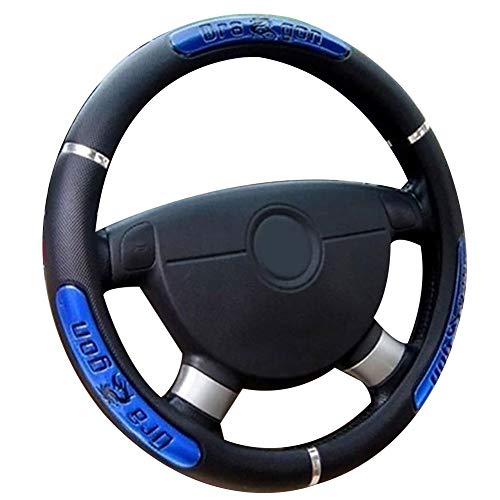 qiguch66 Leather Steering Wheel Cover,38cm Fashion Dragon Design Faux Leather Car Steering Wheel Cover Interior Decor,Universal Steering Wheel Covers Blue