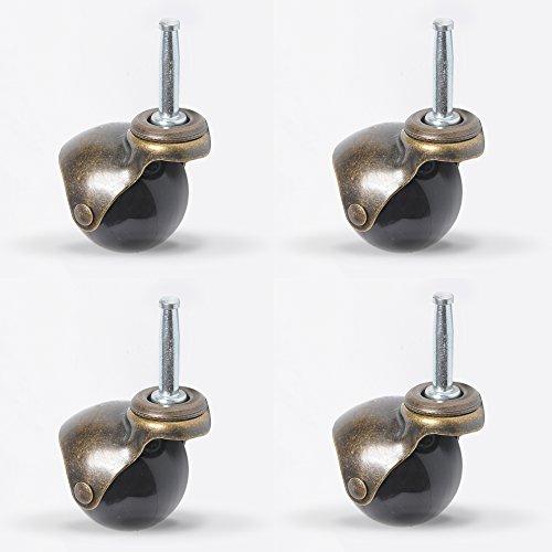Kugel Lenkrollen mit langem Schaft für Möbel Swivel Laufrolle Caster Möbelrolle Ersatz Räder Kugel-Lenkrolle Schwenkplatte Lenkrad 50mm 2 Zoll 4 Stück