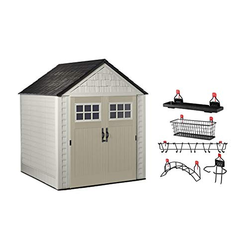 Rubbermaid 7x7 Feet Weather Resistant Resin Outdoor Garden Tool Storage Shed + Storage Shelf Organizer Accessories for Sheds