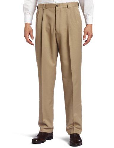 Haggar Men's Big-Tall Cool 18 Gabardine Hidden Expandable Waist Pleat Front Pant, British Khaki, 48x29
