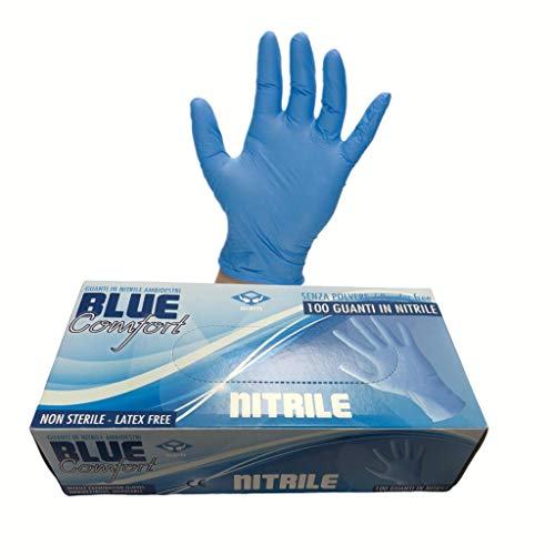Mascherine Italiane Store BLUECOMFORT Gants en Nitrile sans Poudre Pack de 100 pièces. Dispositif médical de Classe 1. Taille XL