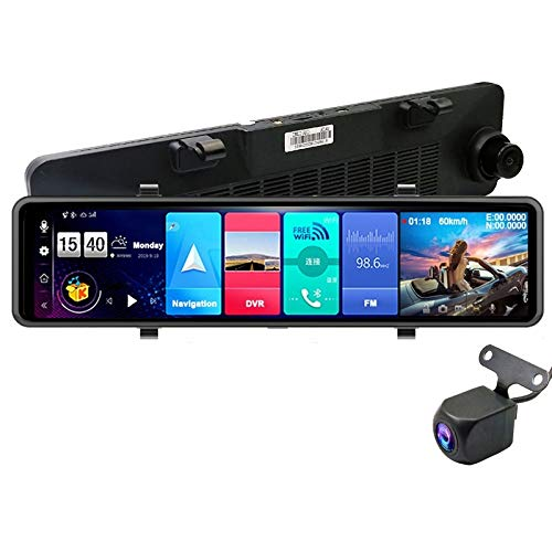 Yuyitec 4 G Auto-DVR-Kamera, 11' Touch-Bildschirm, ADAS, Fernüberwachung, Rückspiegel-Kamera mit Android Dual-Objektiv, 1080P, WLAN, Dashcam, Echtzeit-GPS-Navigator, Tracker