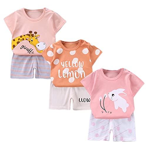 XM-Amigo Set di 3 magliette a maniche corte da bambina, a mezza manica, confezione da 6 (con/senza fibbia), Colore: rosa., 4-5 Anni