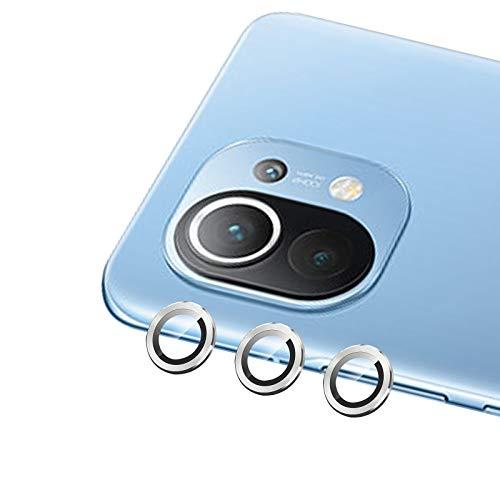 QULLOO Cámara Protector para Xiaomi Mi 11, [3 Pack][9H Dureza] Cristal Templado de Anillo Metálico Protector de Lente de cámara para Xiaomi Mi 11 - Plata