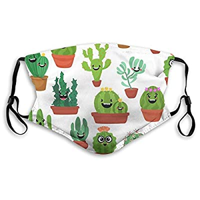 HOTBABYS Cactus Reusable Activated Carbon Filter Face Covering with Replaceable Filter for Men Women Medium