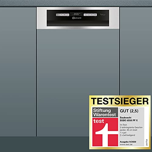 Bauknecht BSBO 3O35 PF X Integrierter Geschirrspüler/45 cm Breite/PowerClean/ActiveDry/ Hygieneprogramm/Vollwasserschutz/Besteckschublade/ Kindersicherung