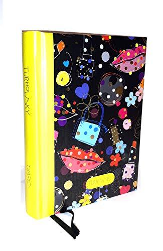 TURNOWSKY Tagebuch 12 Monate 2020/2021 Tageskalender mehrfarbig schwarz 16 x 12 cm kariert + Lesezeichen + gratis Stift