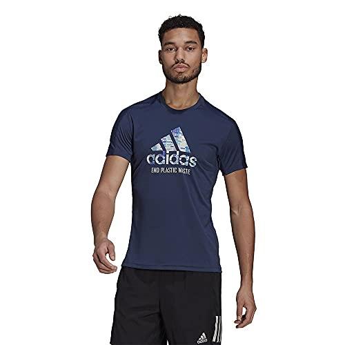 adidas Performance Run for The Ocean Graphic - Camiseta de running para hombre, color azul oscuro y azul claro, M (48-50 EU)