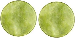 LASSUM 2 Pieces Round Jade Stone Eye Lashes Adhesive Glue Pallet Holder for Eyelash Extensions,2 Inch