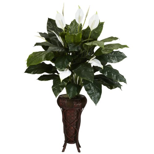 Nearly Natural 6656 Spathyfillium with Stand Decorative Silk Plant, Green