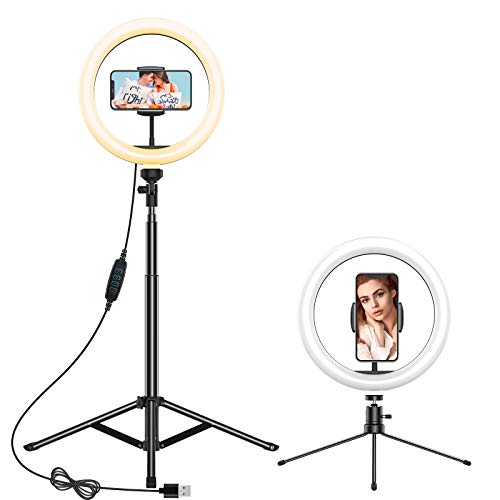 Anozer Luce Tik Tok Anello LED da 10' con Supporto Treppiede per Telefono, Ring Light da Scrivania con 3 Modalità di illuminazione e 10 Luminosità per Streaming live/Videoconferenza/YouTube/Tiktok