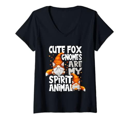 Mujer Lindo Fox Spirit Animal Cita Para Los Amantes Del Gnomo Red Fox Gnomos Camiseta Cuello V