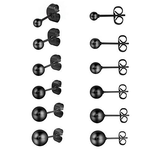 Cupimatch Ohrringe Set Kugel Ohrstecker Set Schwarz Silber Gold Damen Herren 6 Paare Edelstahl rund Piercing Ohr Ohrringe mit verschiedener Größen 3 mm - 8 mm
