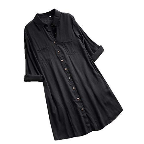 VEMOW Herbst Frühling Sommer Elegante Damen Frauen Stehkragen Langarm Casual Täglichen Party Strand Urlaub Lose Tunika Tops T-Shirt Bluse(Y2-c-Schwarz, 46 DE / 2XL CN)