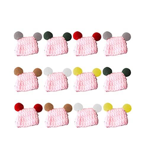 LIXBD Sombreros de mini muñeca para hacer punto de lana sombreros para trabajo en miniatura,...