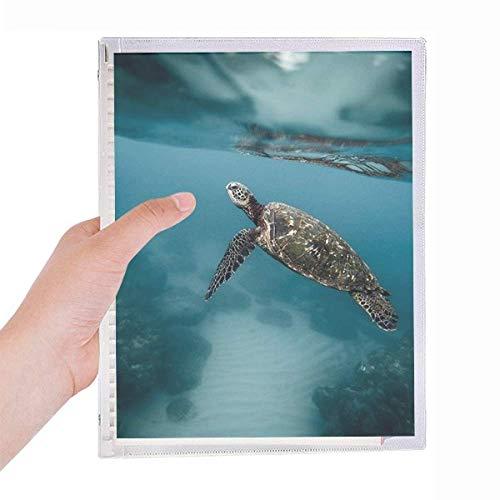 Caderno com imagem da natureza de tartaruga marinha oceânica, diário de folhas soltas recarregável