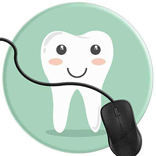 Gaming Mauspad Runde Glücklicher gesunder Zahn Oberfläche verbessert Geschwindigkeit und Präzision rutschfest Mouse Pad 2T3219
