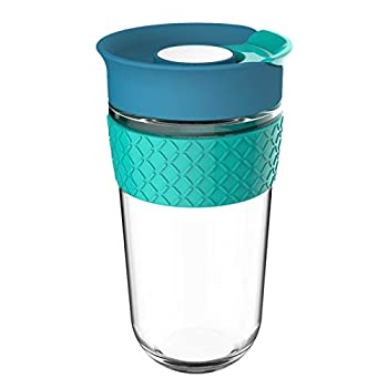 Glass Coffee Travel Mug with Lid 18oz/540ml Reusable Coffee Cup Spill-proof 100% BPA Free Microwave Safe Durable and Hygienic Silicone Sleeve  Blue