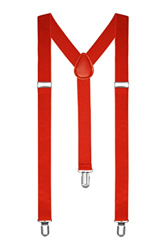 Autiga Hosenträger Herren Damen Hosen Träger Y Form Style Clips Schmal Neon Bunt Farbig, Rot, unisize