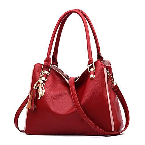 Damen Handtasche, Umhängetasche Umhängetasche, Wilde weiche Handtasche, Damen Shopping Klapp Strandtasche, lässig Geldbörse, rot