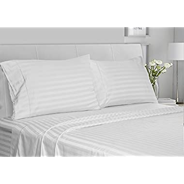 CHATEAU HOME COLLECTION Luxury 100% Supima Cotton 500 Thread Count Ultra Soft Damask Stripe Sheet Set, Mega Sale, Lowest Prices, White, King