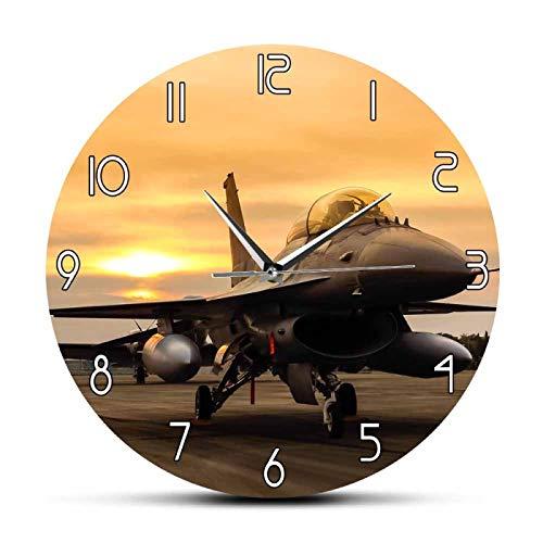 hufeng Reloj de Pared F16 Falcon Fighter Jet Avión Avión Reloj de Pared Fuerza Aérea de los Estados Unidos Arte de la Pared Decoración de aviación Regalo de piloto Militar