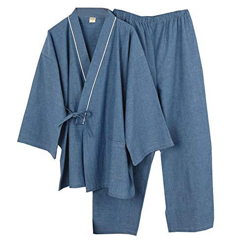 Trajes de Estilo japonés de los Hombres de algodón Puro Kimono Pijama Traje Vestido de Vestir Set- # 03