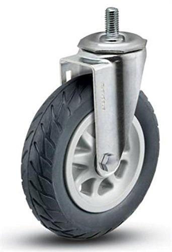 "6"" Swivel Caster, Black No Flat Wheel, 1/2-13 x 1 Threaded Stem"