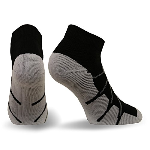 Sox Sport Gentle Plantar Fasciitis Arch Support Low Cut Running, Gym Compression Socks, Black/Grey, Large - SS4011
