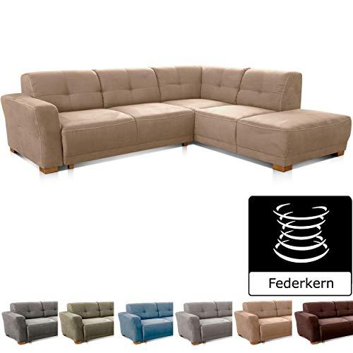 Cavadore Ecksofa Modeo, mit Federkern, Sofa in L-Form im modernen Landhausstil, Holzfüße, 261 x 77 x 214, Mikrofaser-Bezug, hellbraun