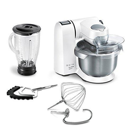 Bosch MUMXL20W Küchenmaschine MaxxiMUM, 1600 W, 5,4 L Edelstahl-Rührschüssel, 3D PlanetaryMixing, Smart dough sensor, frosting weiß