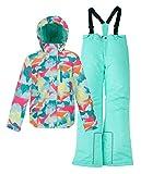 Hiheart Hiheart invierno más cálido traje para la nieve capó del Snowboard Ropa Chaqueta + pantalones Set 2 piezas para chicas 43560 Azul