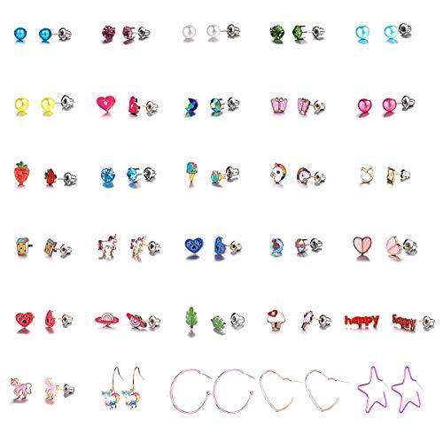 HQdeal 30 Pairs Crystal Earring stud Sets for Girls, Girls Cute Earrings Set, Girls Jewelry Heart Pearl Butterfly Animal Earrings Set for Girls Women Kids, Hypoallergenic