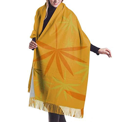 Hangdachang Emblema monocromo con hoja de marihuana. Mantón de la bufanda de la cachemira del mantón de la Navidad de las mujeres 27 * 77 pulgadas