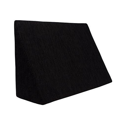 Cojín de cuña para Sala de Estar y Dormitorio, cojín de Lectura, cojín Relax, Respaldo, Almohada de Vientre // Cojín de cuña para acostarse y Sentarse (5 Colores para Elegir) (Negro)