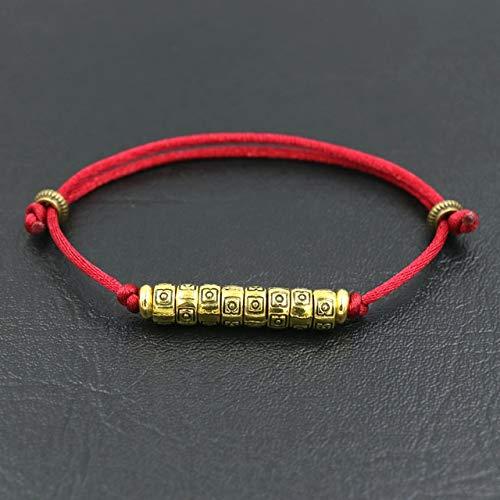 IENPAJNEPQN Étnico Tibetano Pulsera del Encanto de la Cuerda roja del Hilo Tejido Pulseras y brazaletes Amuleto for Las Mujeres de los Hombres Joyas Pareja de Buda Pulsera de Regalo (Color : Wine)