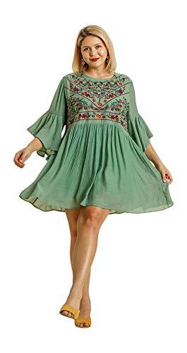 Umgee Boho Bliss! Embroirdered Bell Sleeve Dress (Small, Sage)