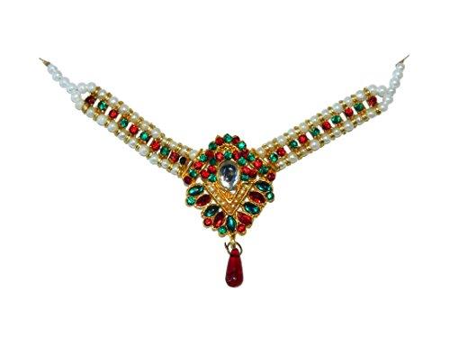 Conjunto Joyas Sonakshi Rojo Verde con Brazalete y bindis joyería India Accesorio Moda