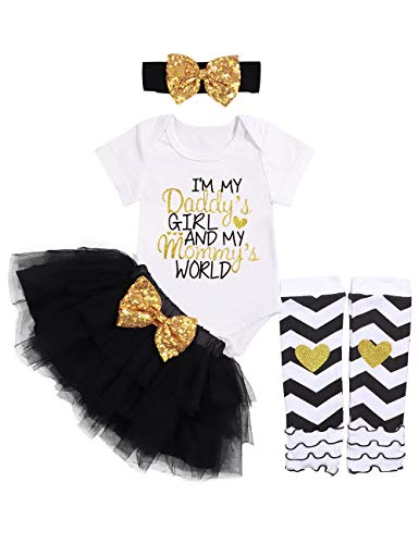 Baby Girl Clothes Letter Print Romper Sequin Tutu Dress Tulle Skirt with Headband Legging 4PC Outfit Set 3-6Months