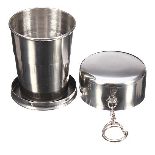 KingSo®240ml Edelstahl Faltbecher Trinkbecher Becher Outdoor