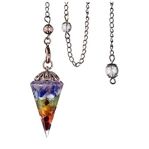 Péndulo de cristal facetado con cono de piedra de piedra péndulo para abandonar la curación