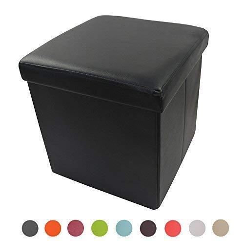 Style home Sitzbank Sitzhocker Aufbewahrungsbox mit Stauraum faltbar belastbar bis 300 kg Kunstleder 38 x 38 x 38 cm (Schwarz)