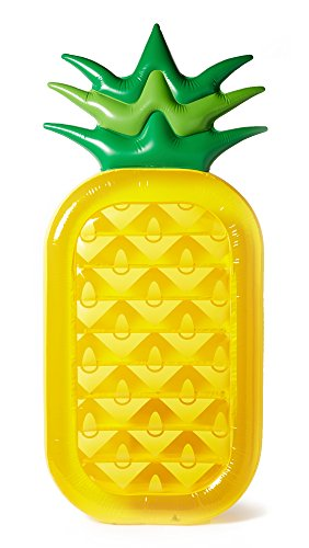 SunnyLife Women's Inflatable Pineapple Raft, Yellow/Green, One Size