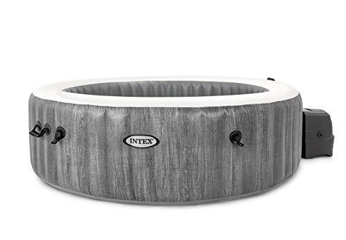 Intex PureSpa Greywood Deluxe Ø 216 x 71 cm Whirlpool Pure SPA - Bubble Massage, Dunkelgraue Holzoptik
