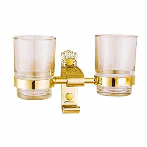 D&D-Bathroom Accessories Badaccessoires Sets/European Gold Edelstahl antike Badezimmer Hanger Anzug Falten Handtuchhalter, Double Cup