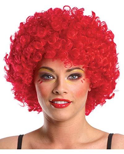 Horror-Shop Rote Clown Perücke im Afro Look
