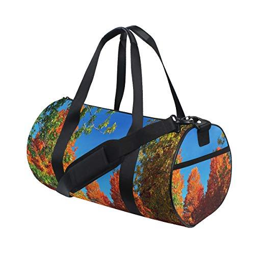 HARXISE Pantalla panorámica de otoño,Bolsa de equipaje de viaje Deporte Lienzo ligero Equipaje de fitness Bolso de tambor Desmontable