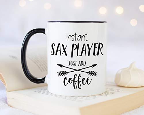 Sp567encer Onmiddellijke saxofoonspeler voegt recht koffiekop-cadeau 11oz koffiekop-cadeau-idee voor saxofoonist saxofoon blaascups instrument voor hem